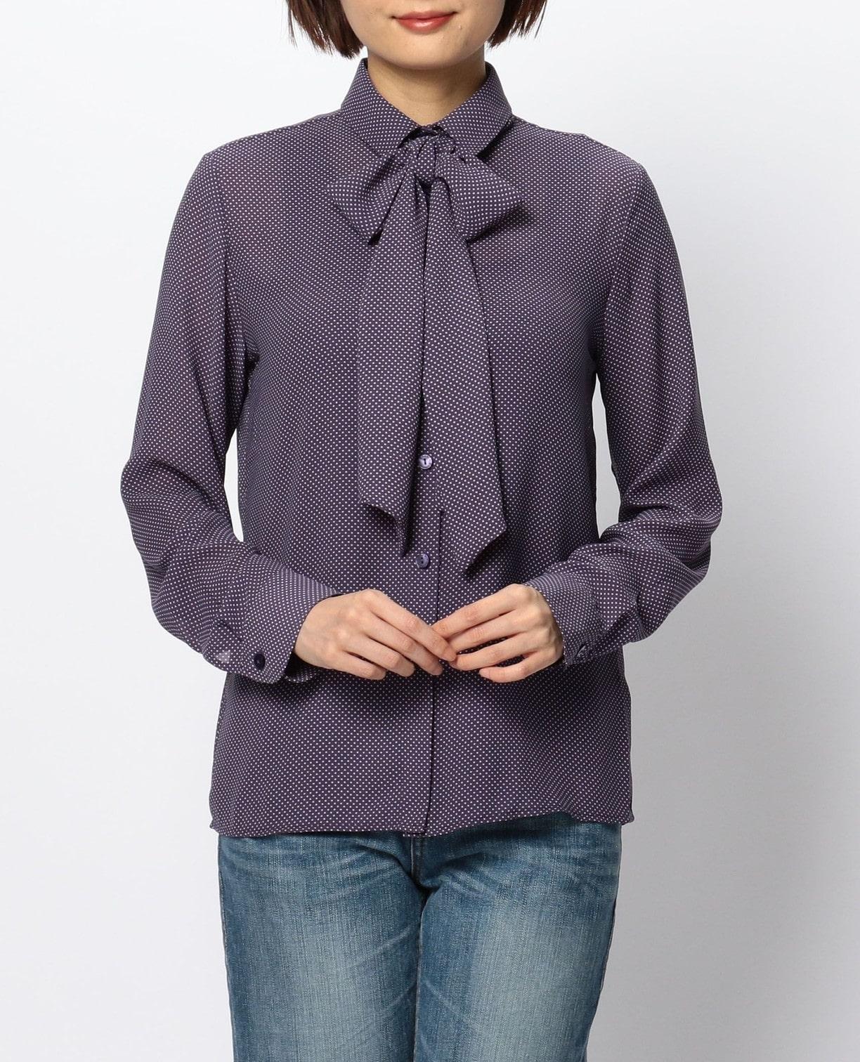ミニドットプリントリボン付長袖シャツ