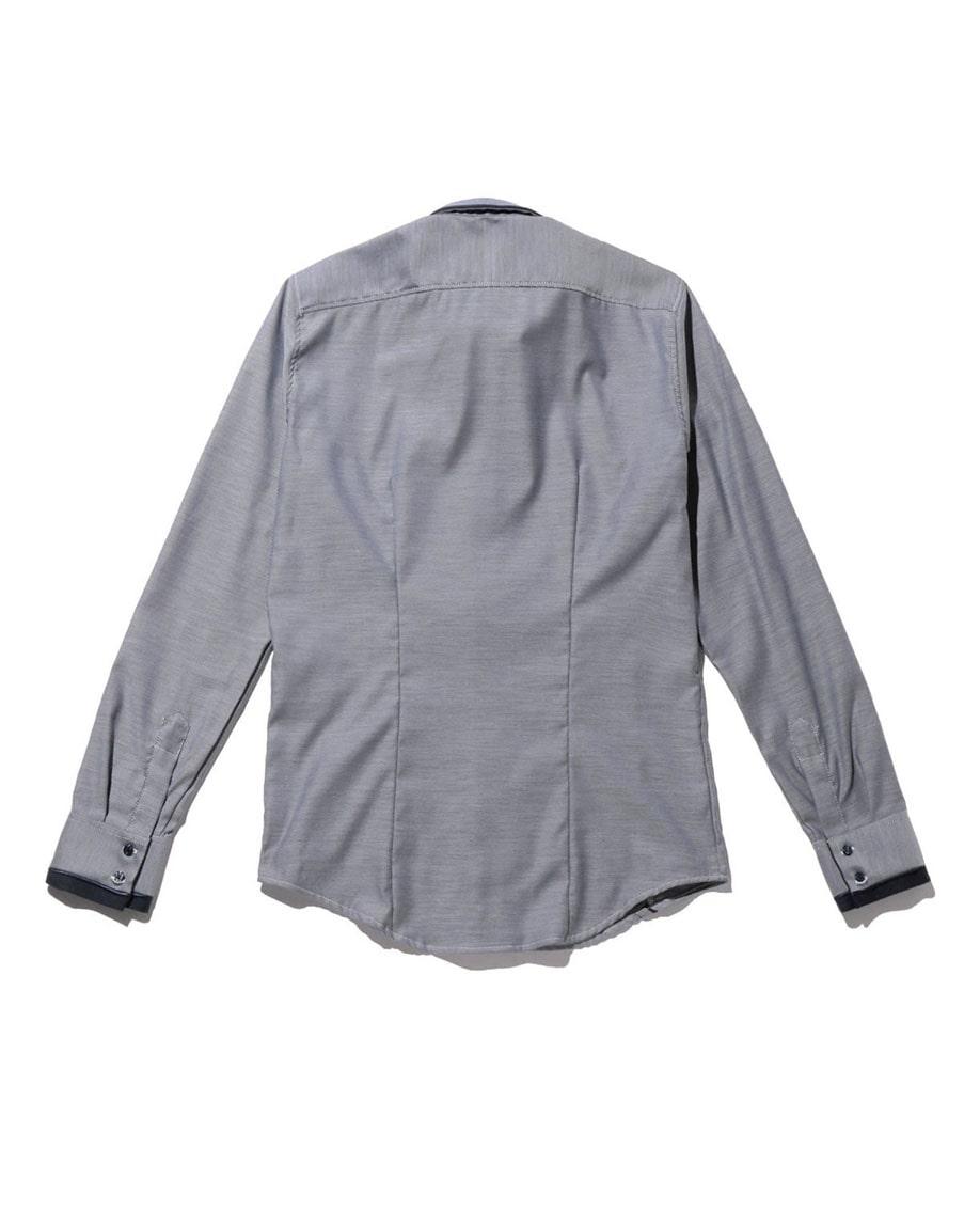 【MEN'S】シャンブレー&ドット柄パイピング長袖シャツ