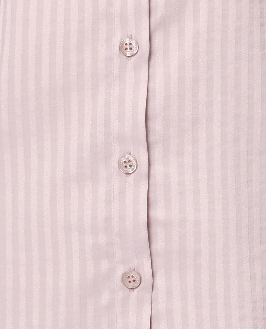 サテンストライプ長袖シャツ