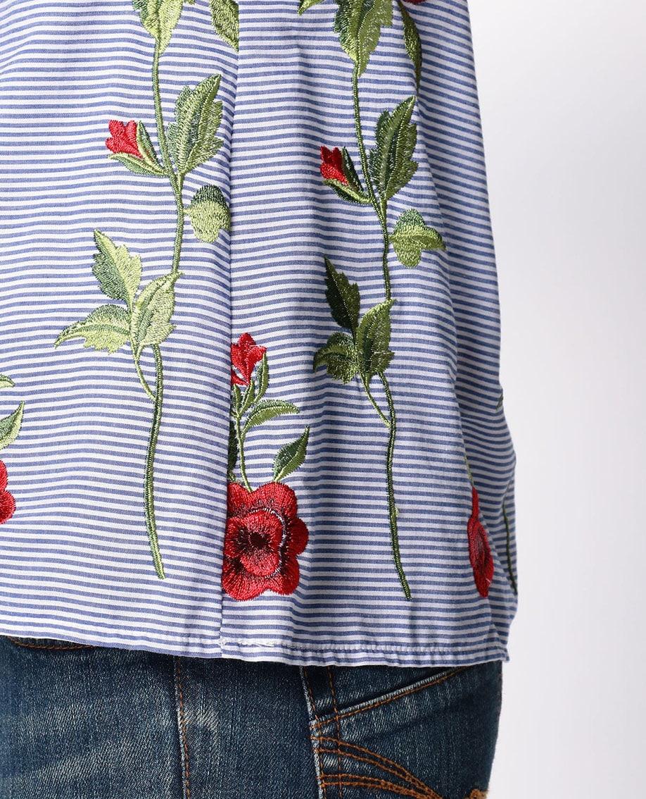ローズ刺繍ボーダーフリルプルオーバーブラウス