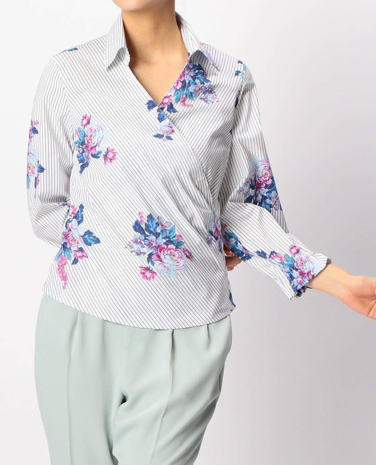 ストライプ&フラワープリントカシュクールシャツ