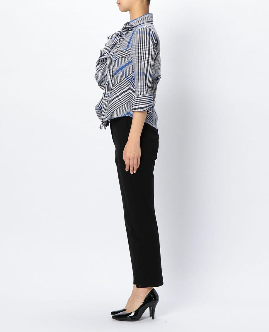 イタリアンチェック衿付フリル七分袖シャツ