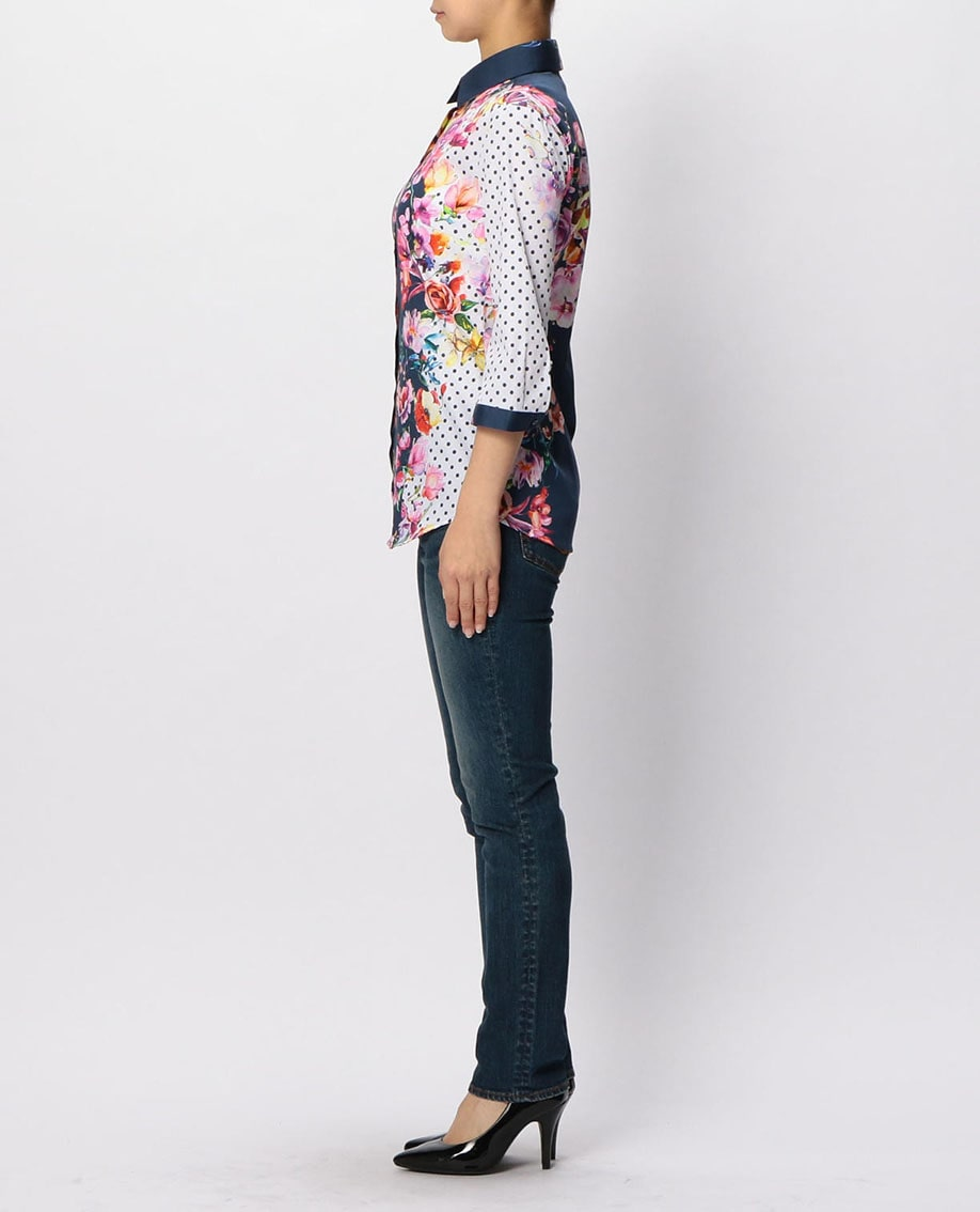 フラワー&ドットプリント七分袖シャツ