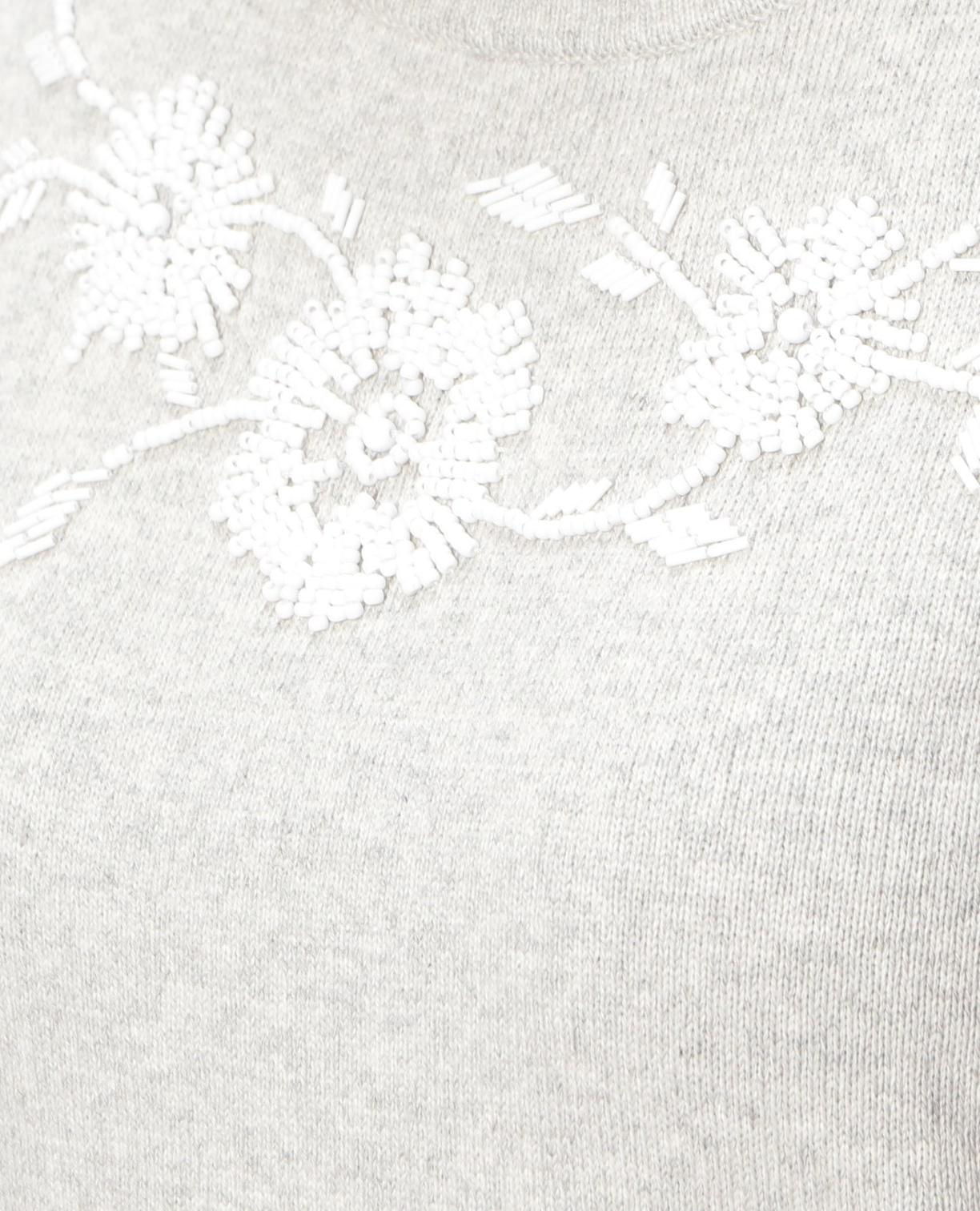 フラワービジュー刺繍ノースリブニット