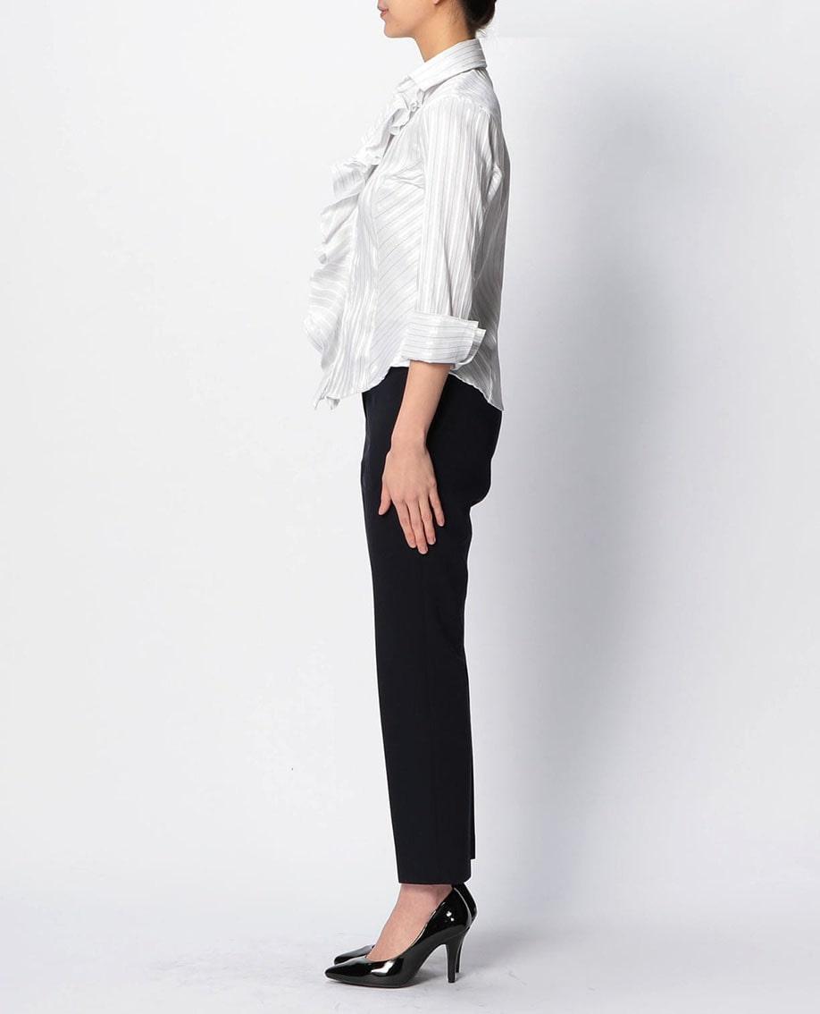 イタリアン細ストライプ衿付フリル七分袖シャツ