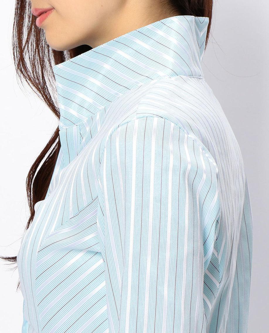 コントラストストライプスタンドカラー七分袖シャツ