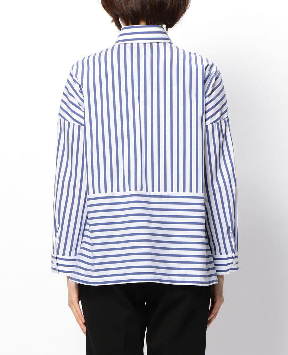 ロンドンストライプ切替長袖ビックシャツ