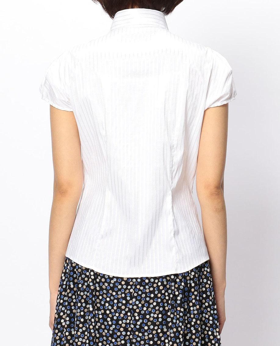 サテンストライプフレンチスリーブシャツ