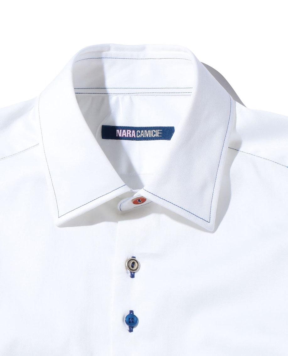 【MEN'S】コットンストレッチマルチカラーボタン仕様長袖シャツ