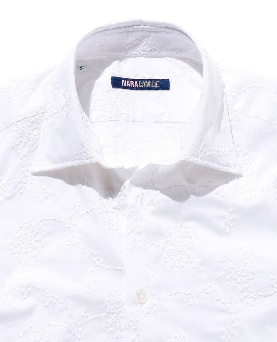 【MEN'S】フラワー刺繍長袖シャツ