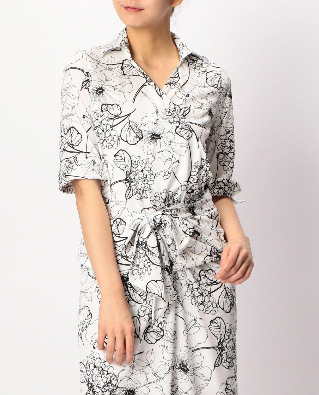 手書きフラワープリントカシュクールシャツ
