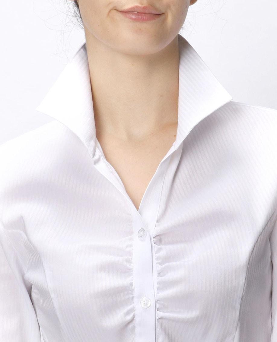 ペンシルサテンストライプスタンドカラー長袖シャツ