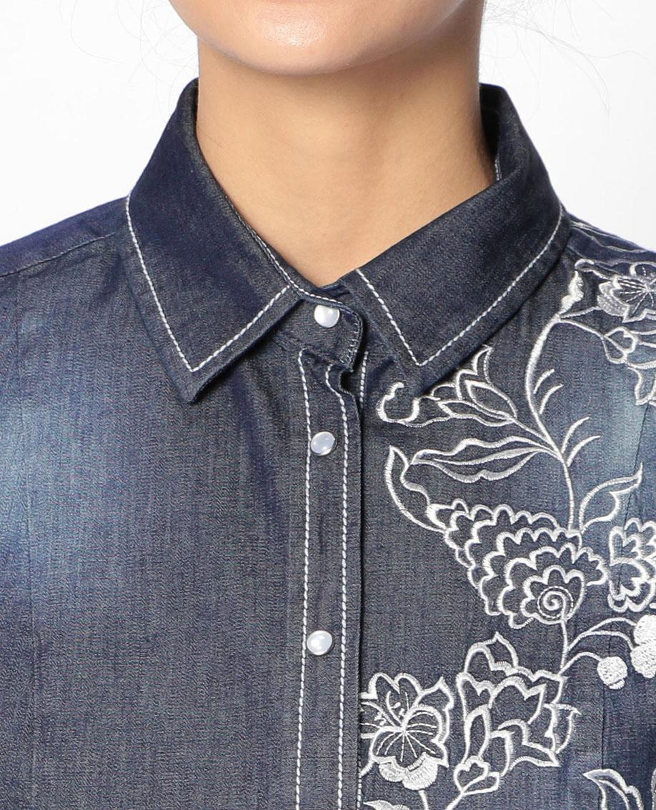 アシメ銀刺繍ダンガリーシャツ