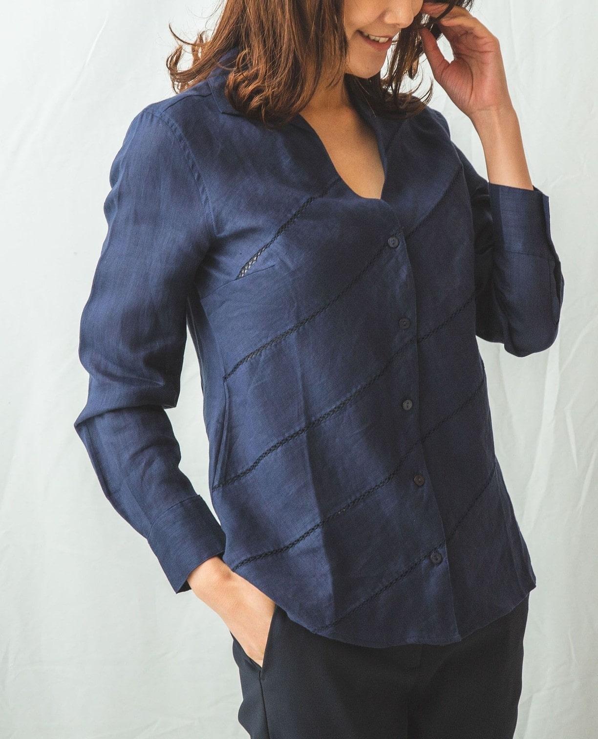 イタリアン麻ハシゴ刺繍シャツ