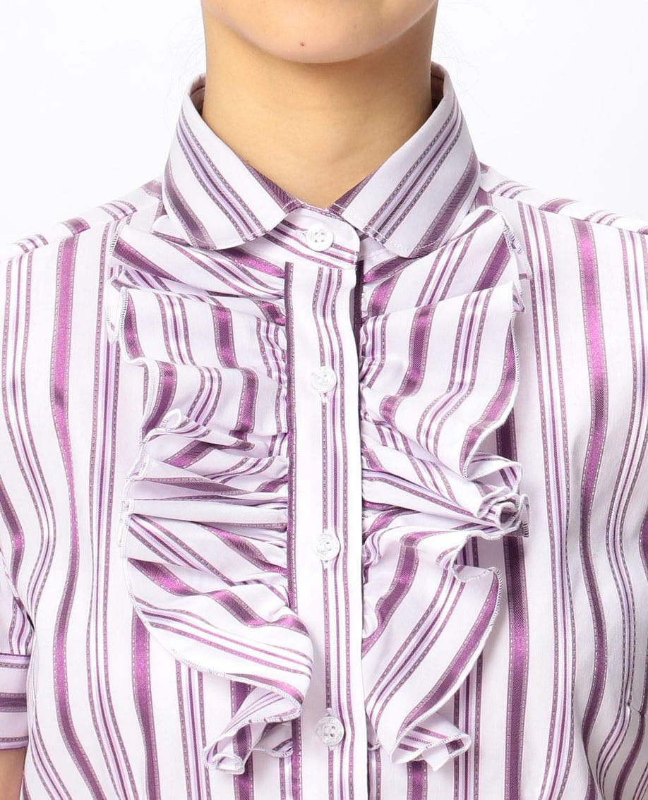 イタリアンストライプフロントフリル半袖シャツ