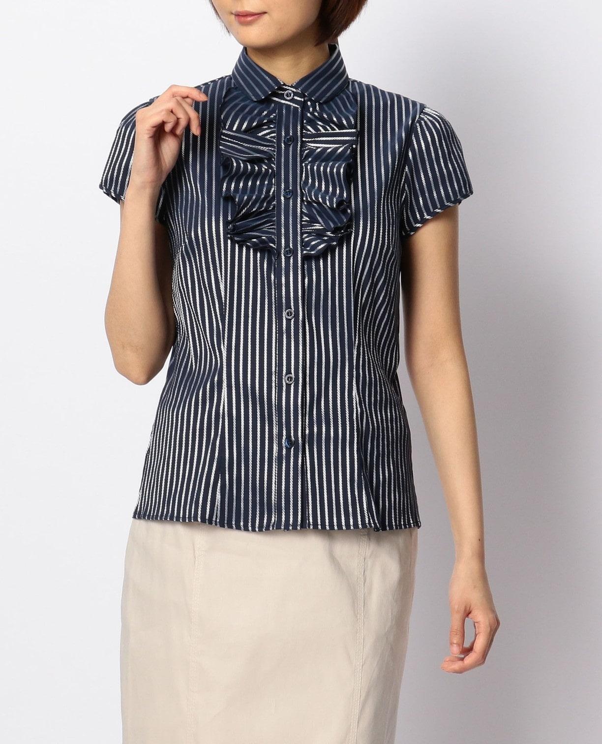 サテンストライプフリル半袖シャツ
