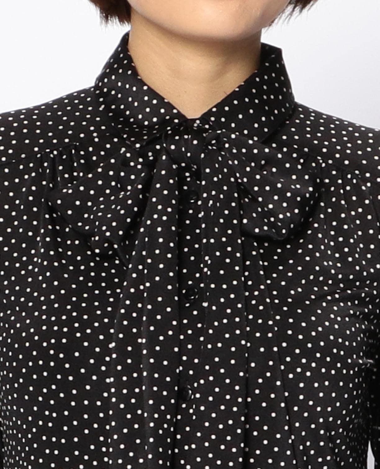 ドットジャージリボン付長袖シャツ