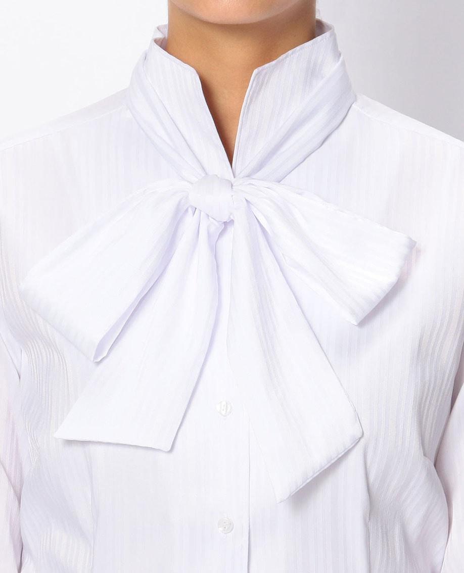 サテンストライプリボン付スタンドカラーシャツ