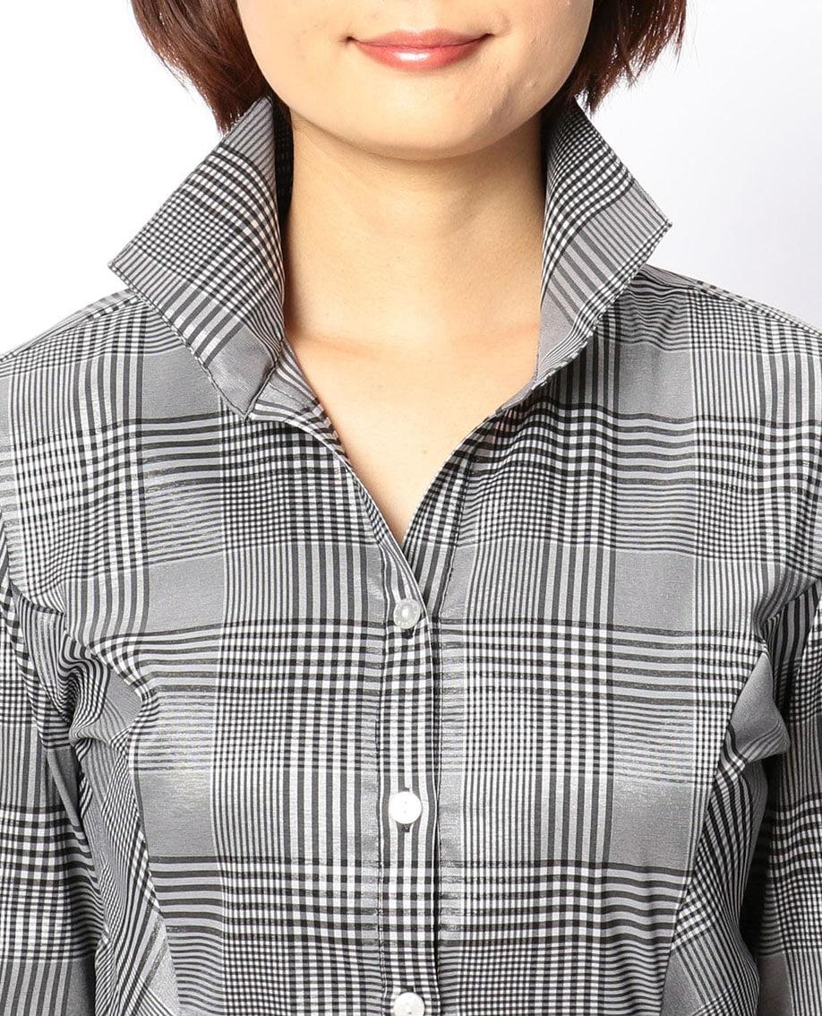 グレンチェックスタンドカラーシャツ