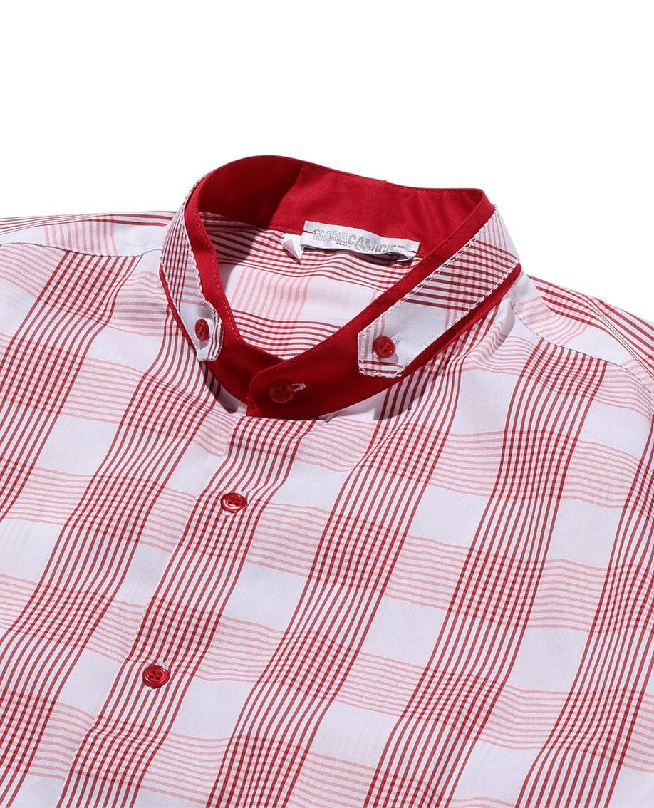 【MEN'S】バンドカラーチェック半袖シャツ