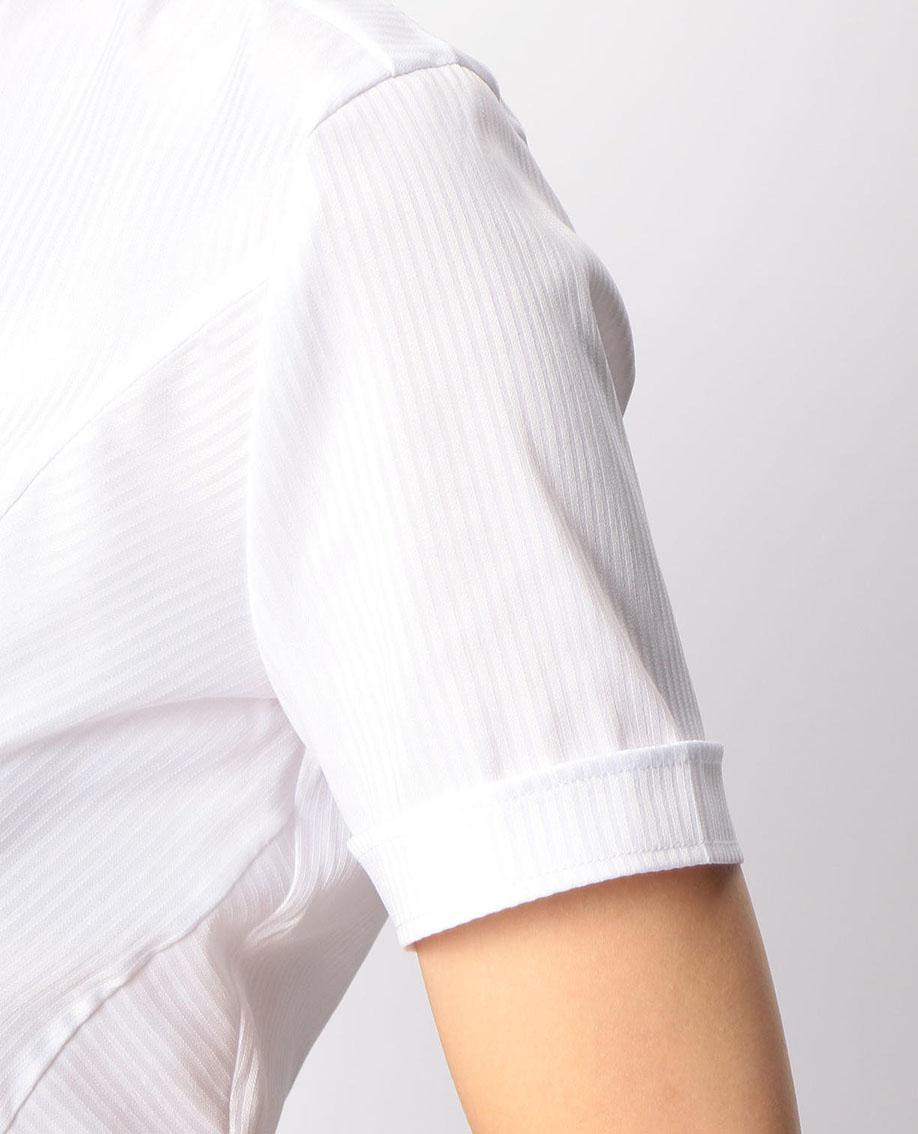 サテンストライプスタンドカラー半袖シャツ