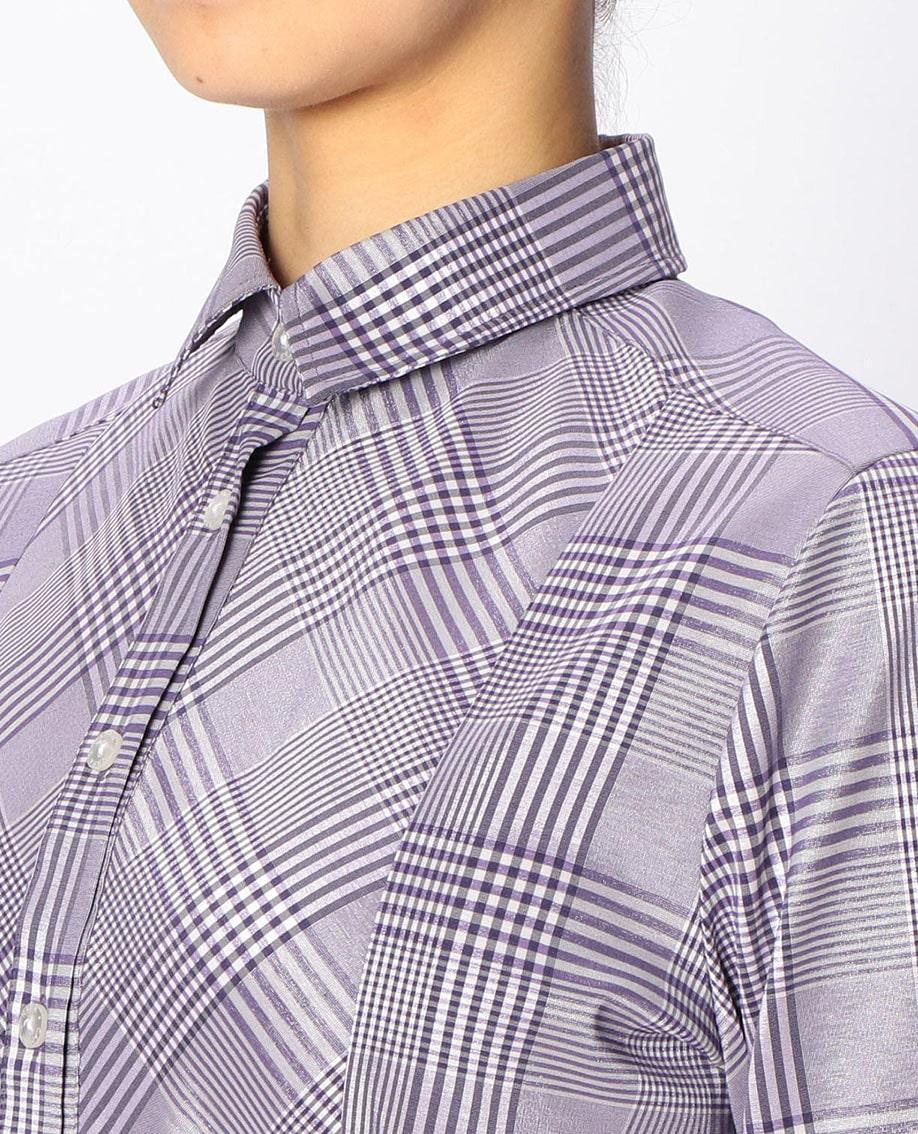 グレンチェック切り替え長袖シャツ