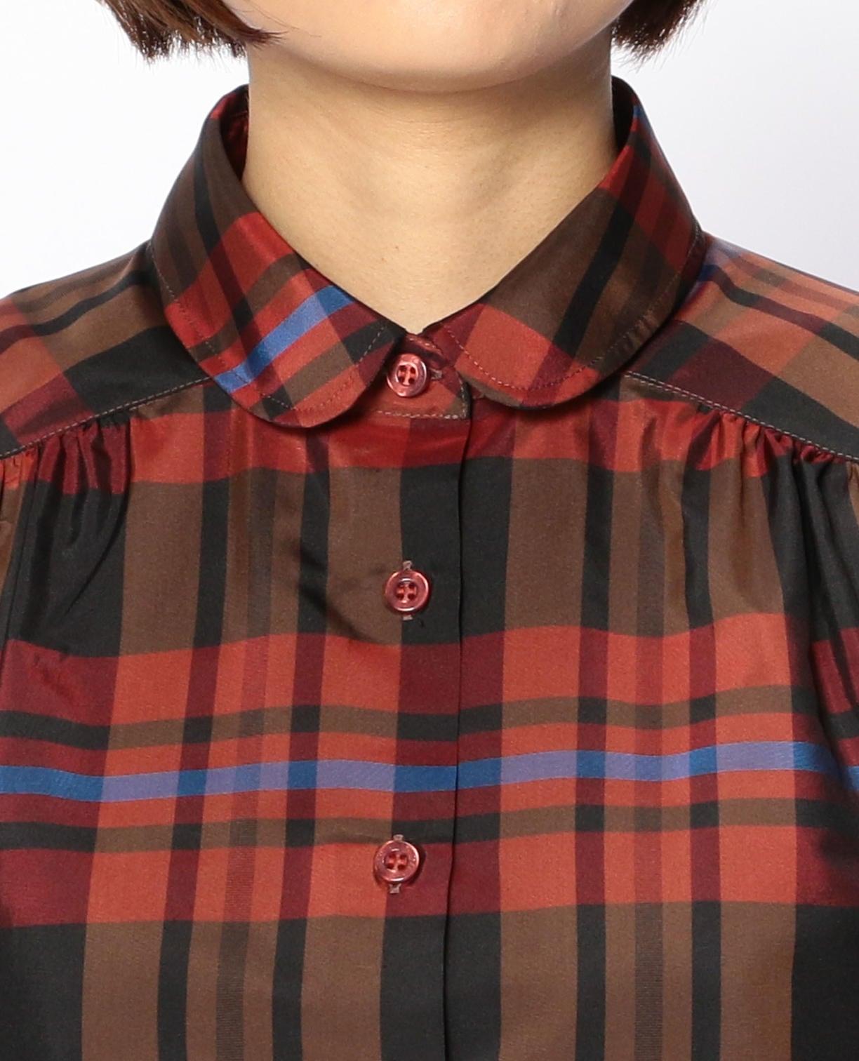 イタリアンチェックラウンドカラー長袖シャツ