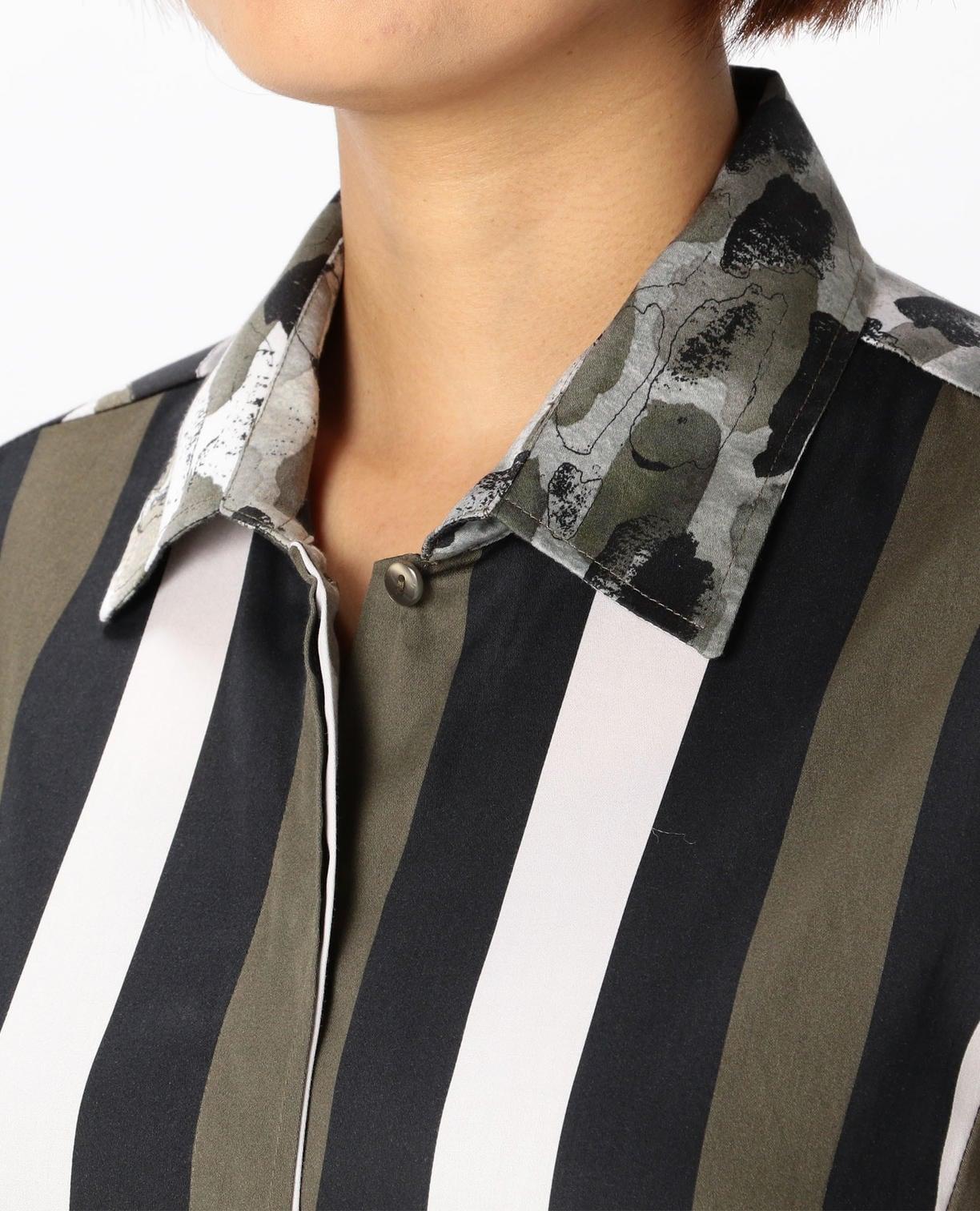ストライプ&レオパードプリント裾切り替えシャツ