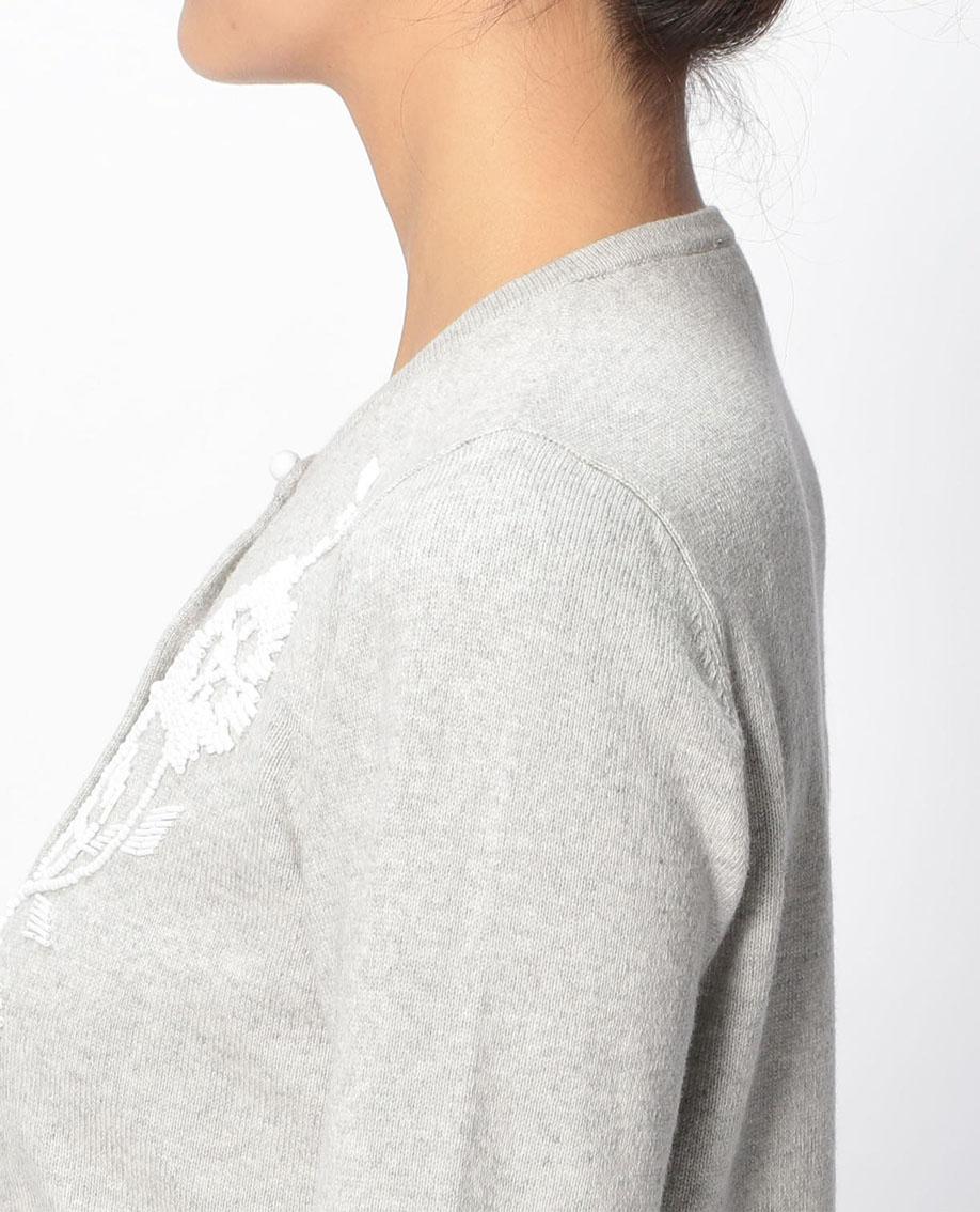 フラワービジュー刺繍クルーカーディガン