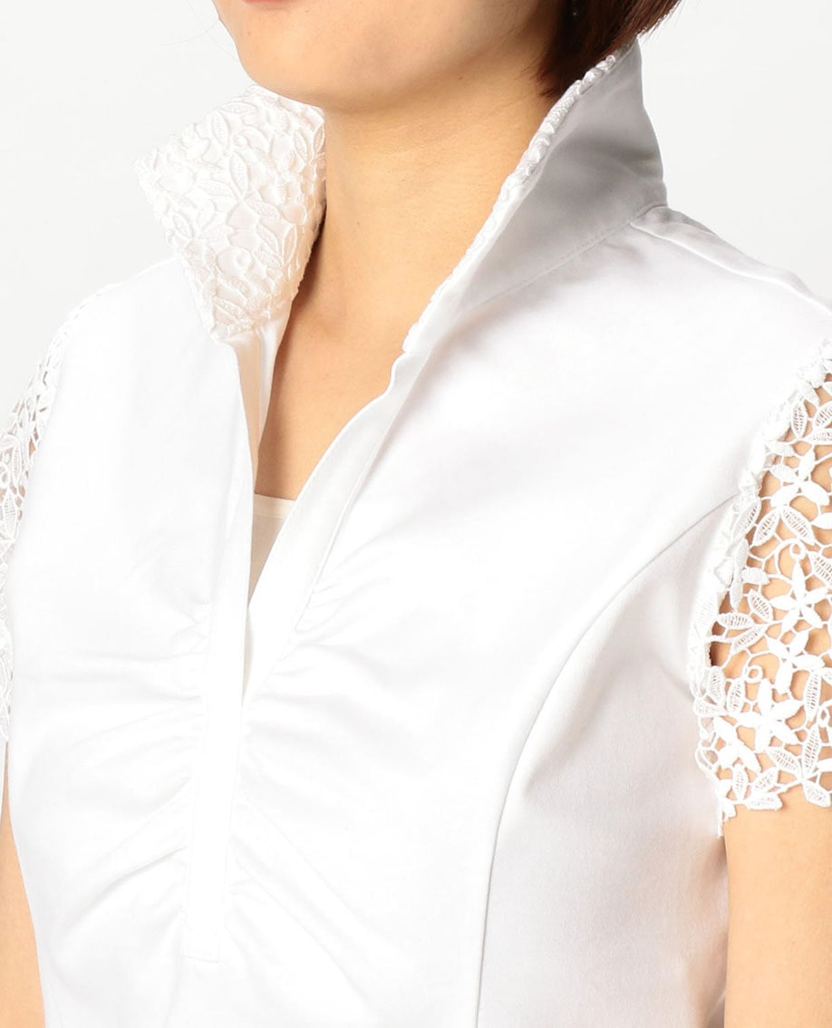 レーススタンドカラー半袖カットソーシャツ