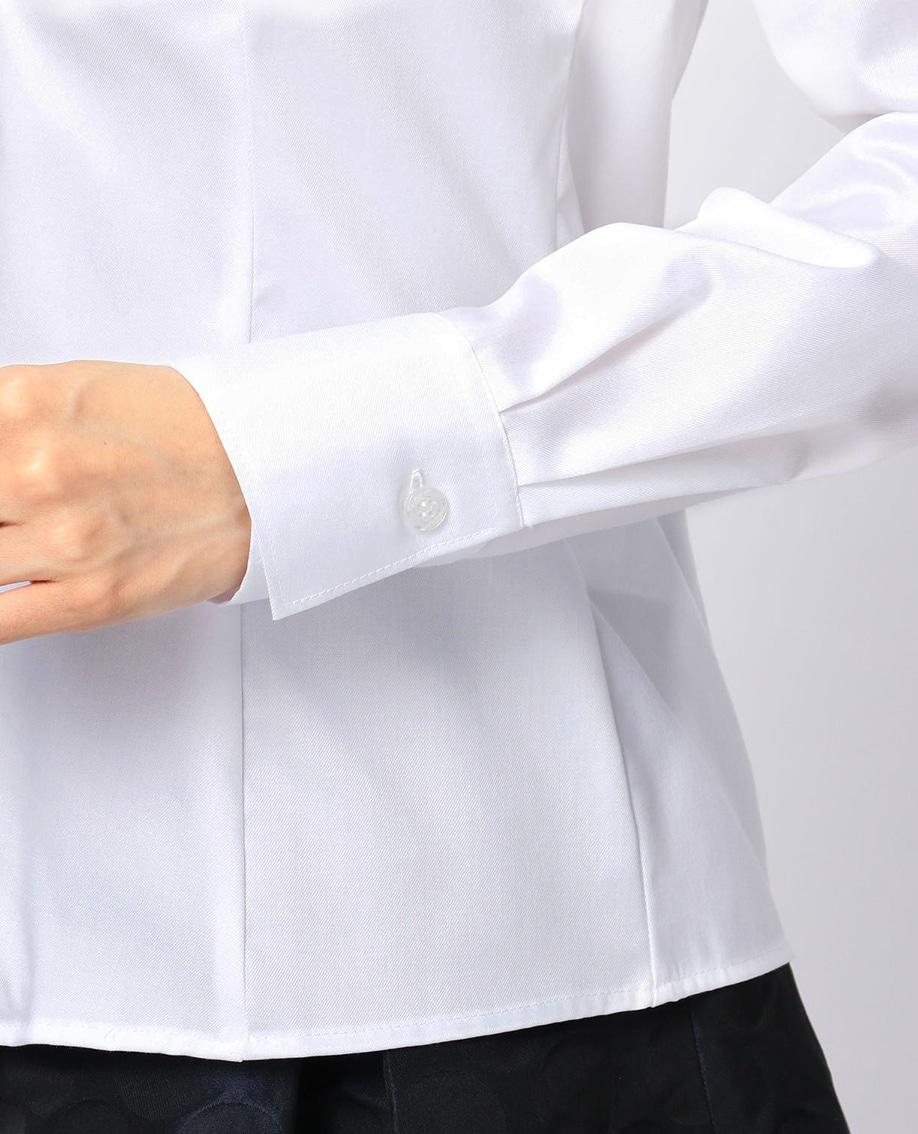 コットンツイル衿レーススタンドカラー長袖シャツ