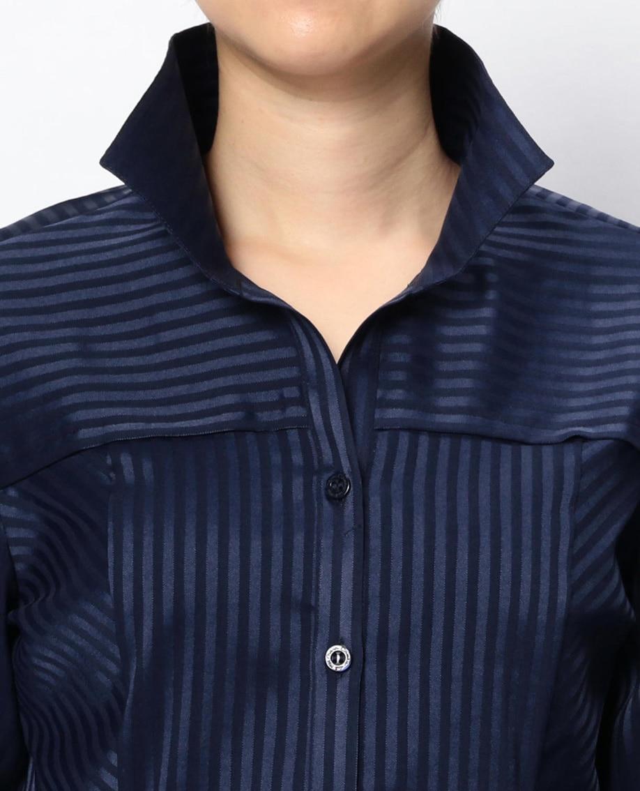 サテンストライプ切替スタンドカラー長袖シャツ