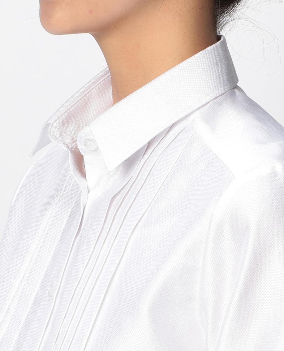 フロントピンタック長袖シャツ