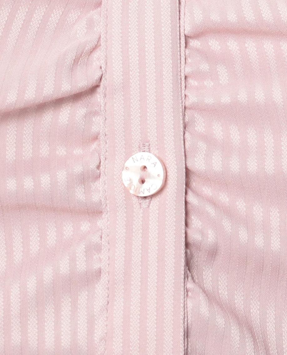 ペンシルサテンストライプ七分袖シャツ