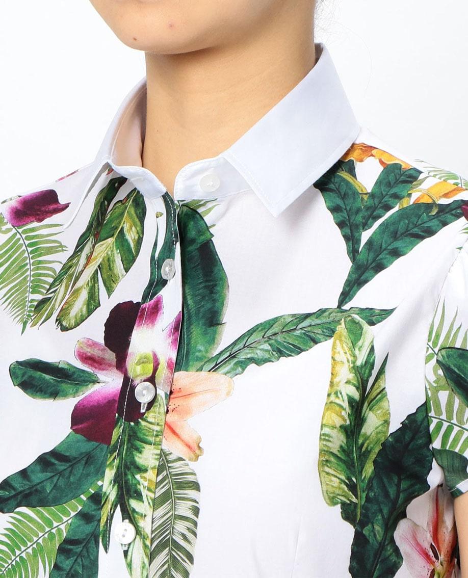 トロピカルプリントチューリップスリーブ半袖シャツ