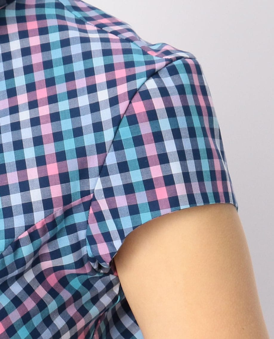 イタリアンギンガムチェックフレンチスリーブシャツ
