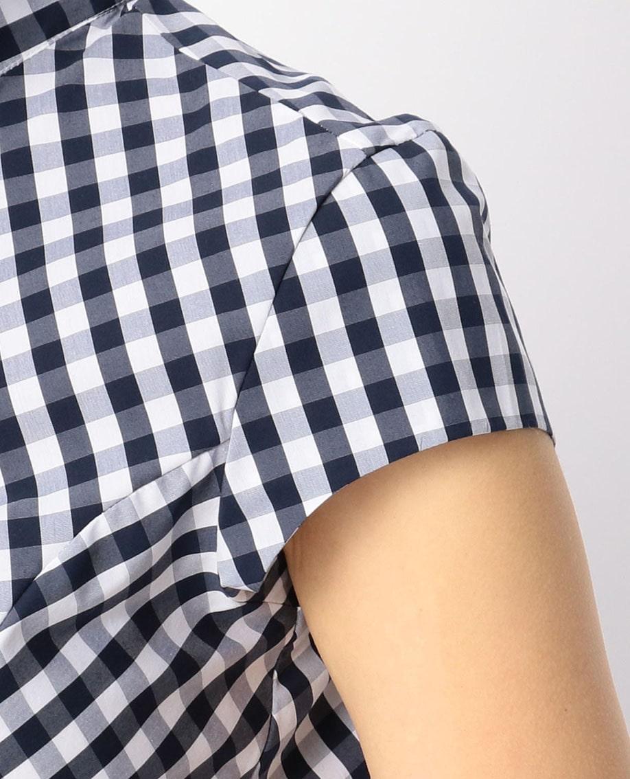 ギンガムチェックフレンチスリーブシャツ