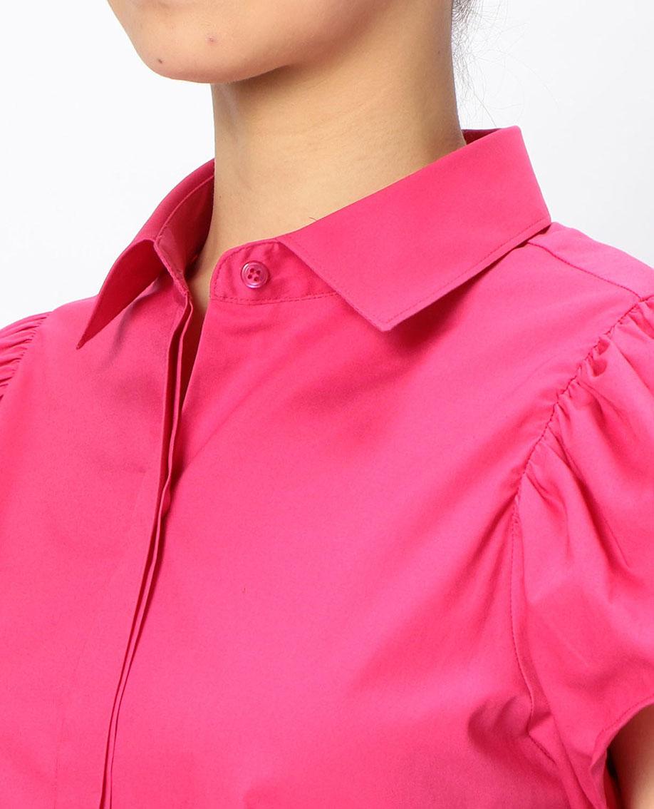 コットンタックフレア半袖シャツ