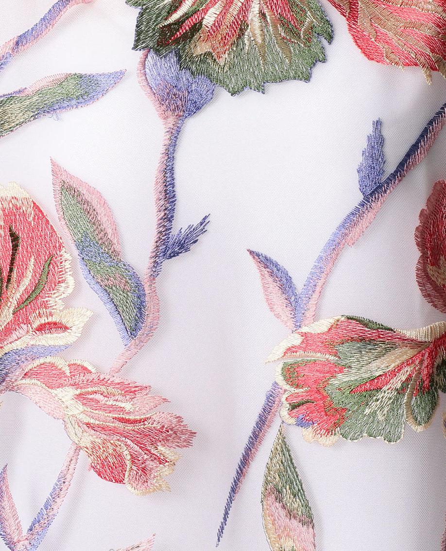 シアーフラワー刺繍半袖プルオーバブラウス
