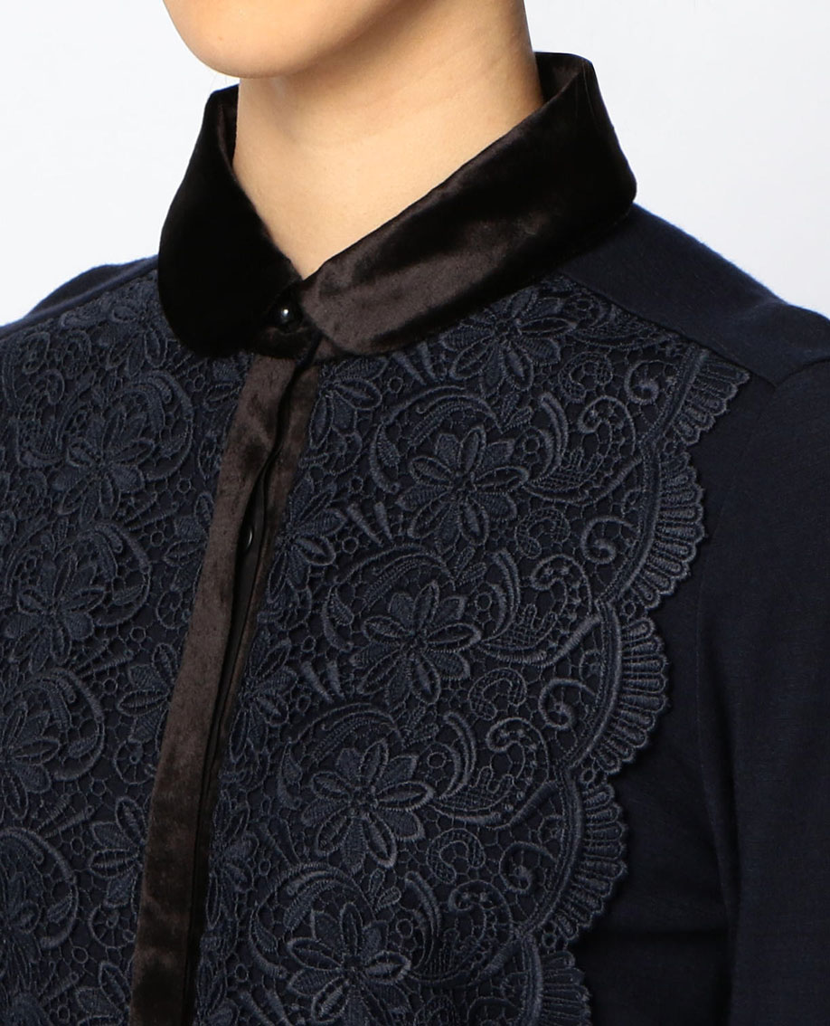 フロントレースベロア衿ウールジャージシャツ