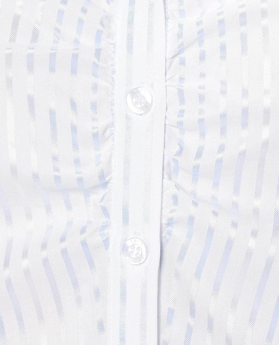 ブリリアンストライプスタンドカラー七分袖シャツ