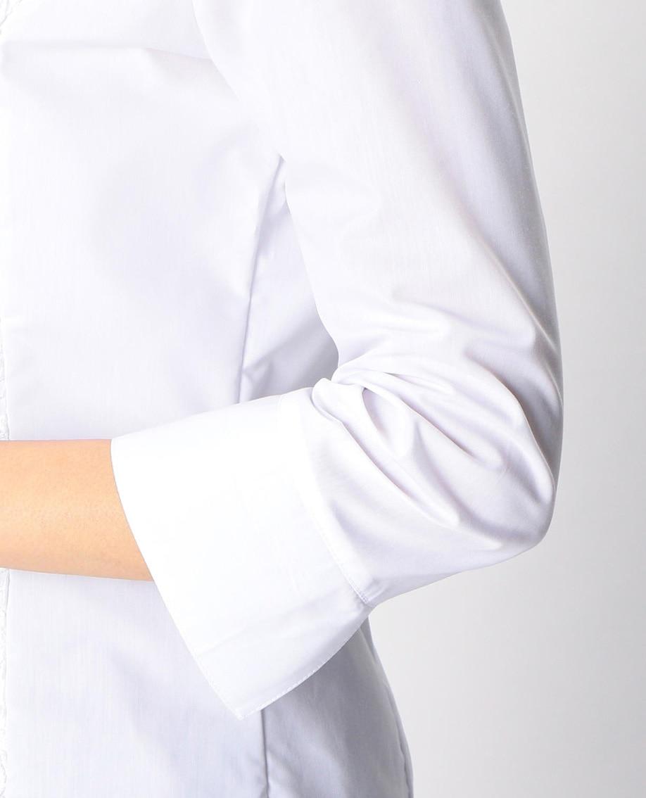 フロントレーススタンドカラー七分袖シャツ