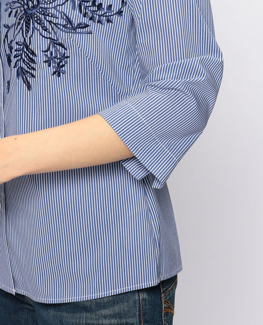 エンブロイダリー七分袖シャツ