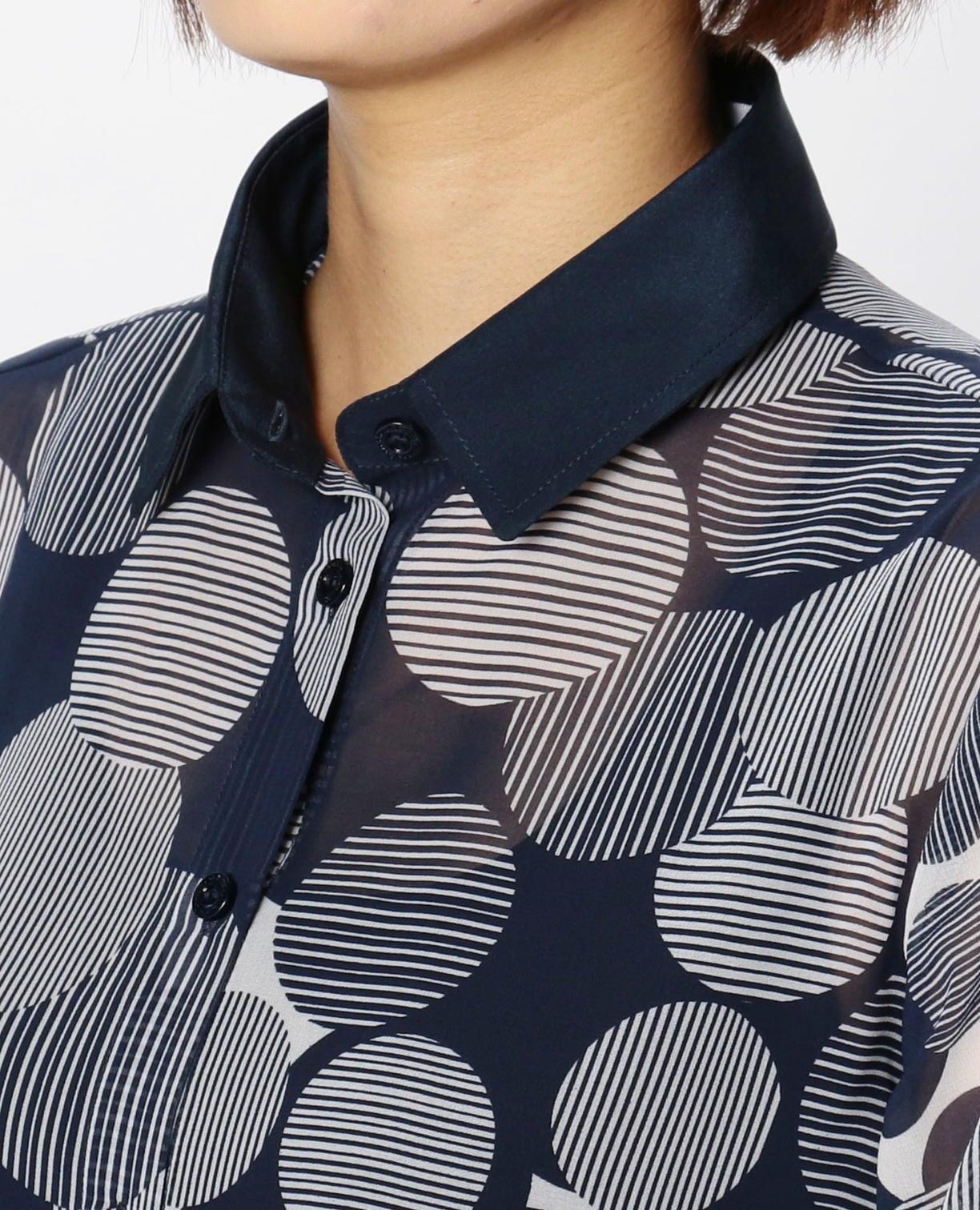 ラインドットプリントリボン付シャツ