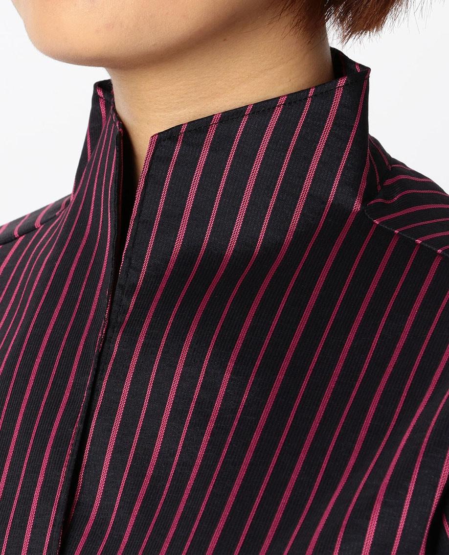 ダークストライプリボン付シャツ