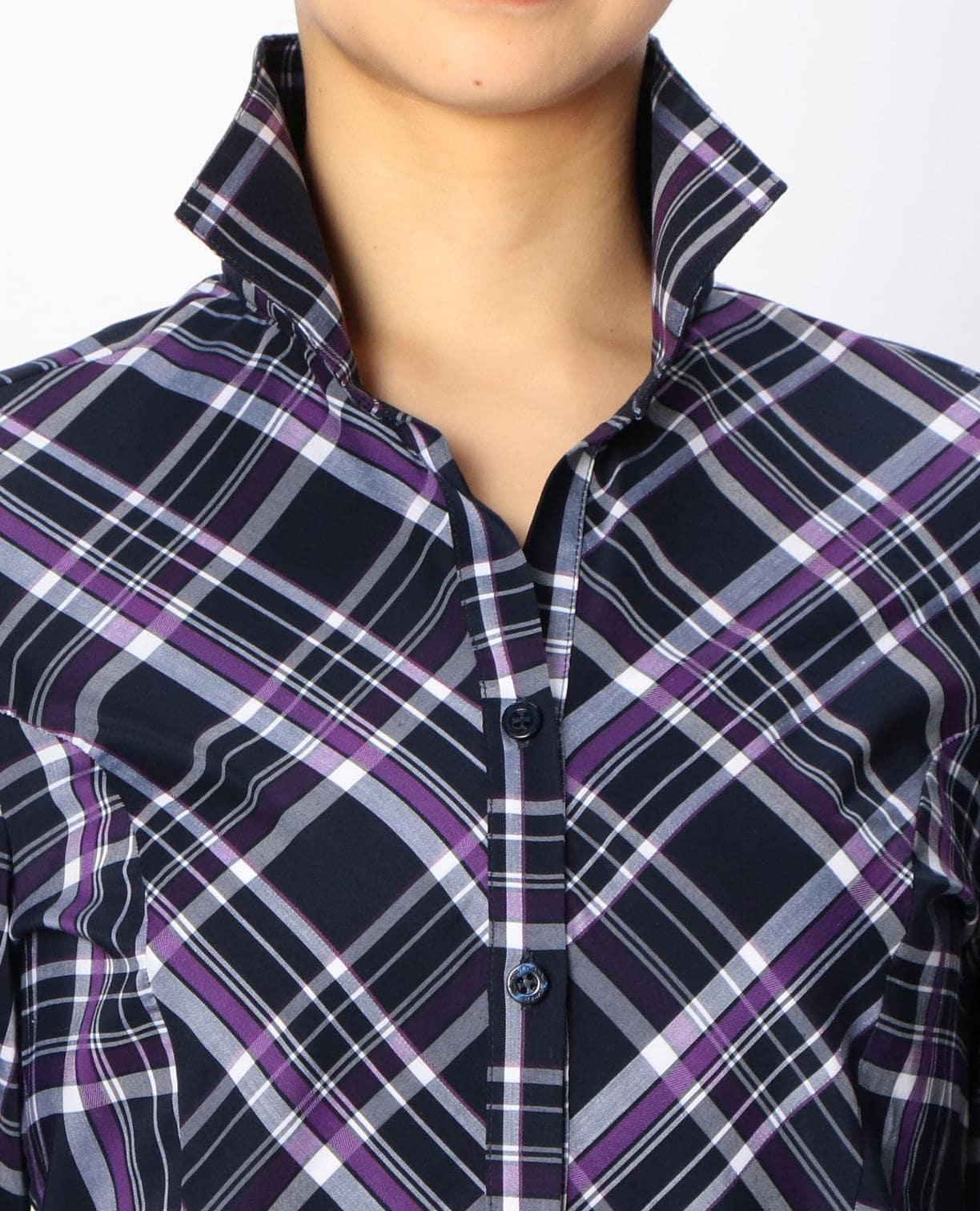 イタリアンチェックスタンドカラーシャツ