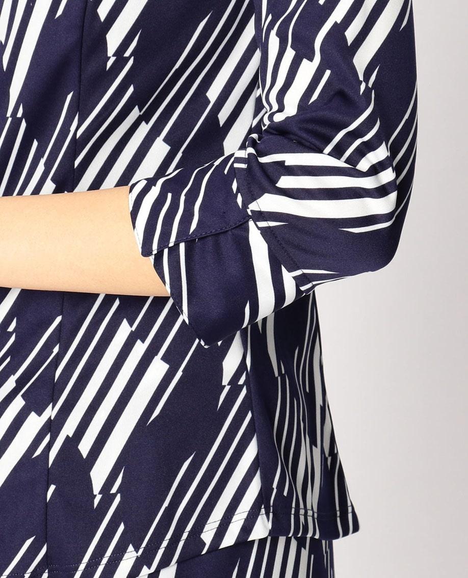 ランダムボーダープリント衿付フリルシャツ