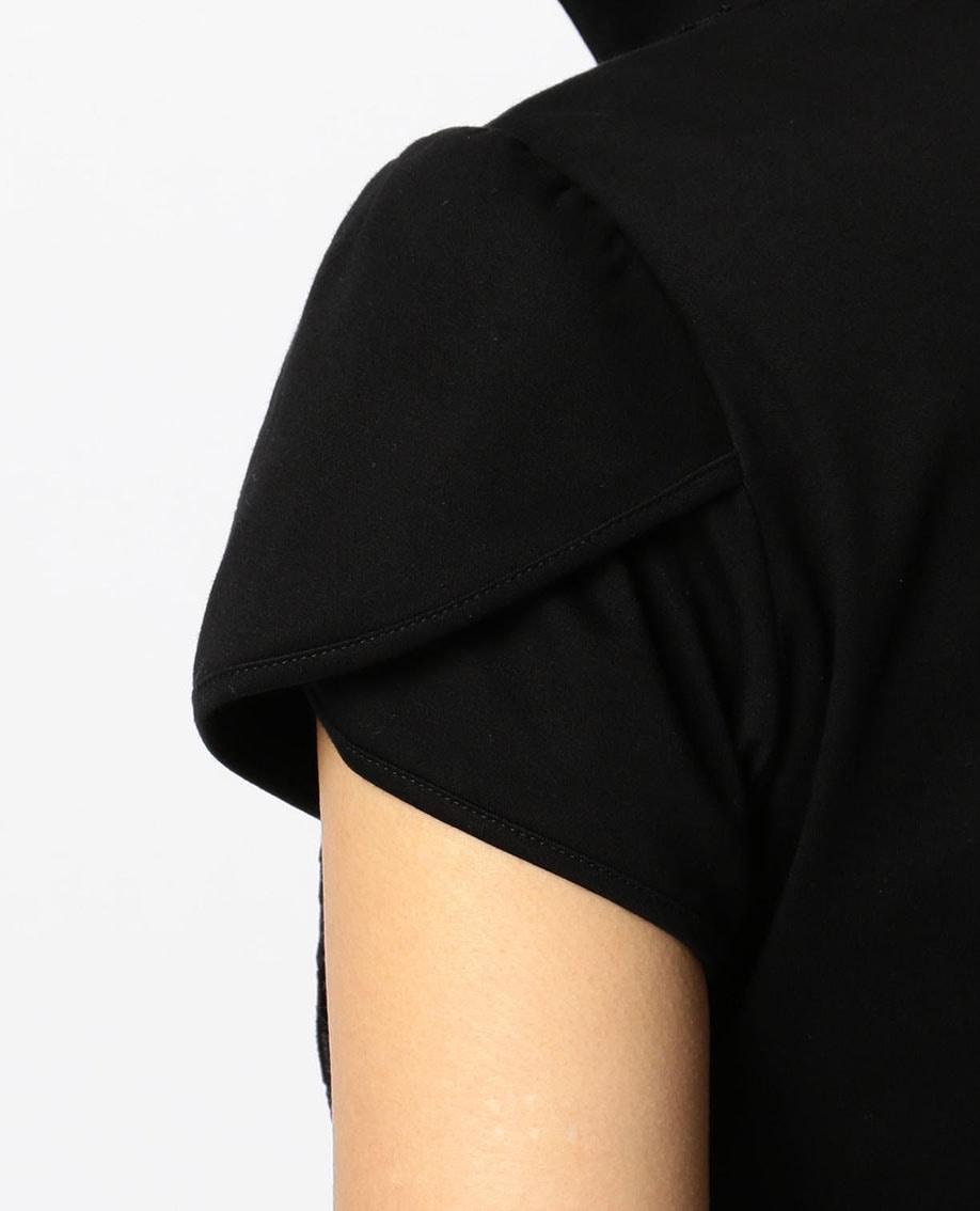 フロントレーススタンドカラーカットソー半袖シャツ