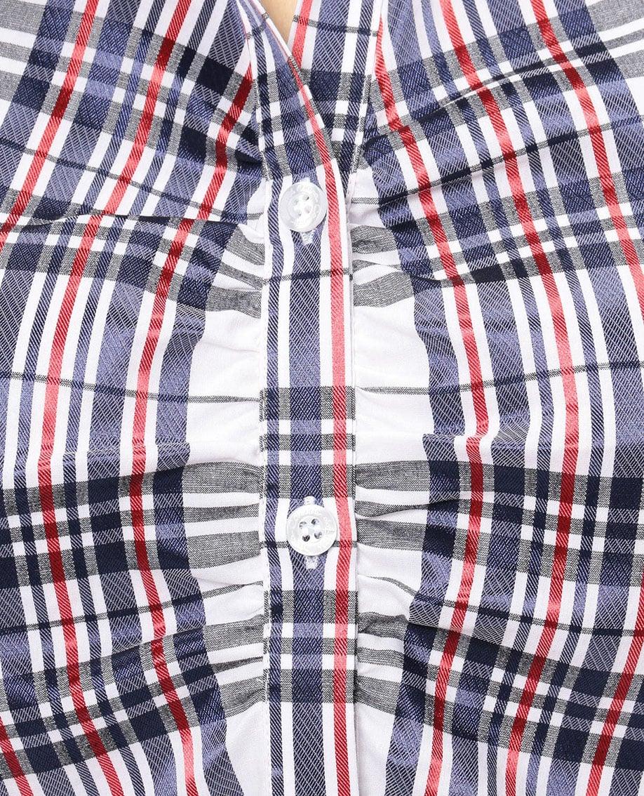 イタリアンチェックスタンドカラー七分袖シャツ