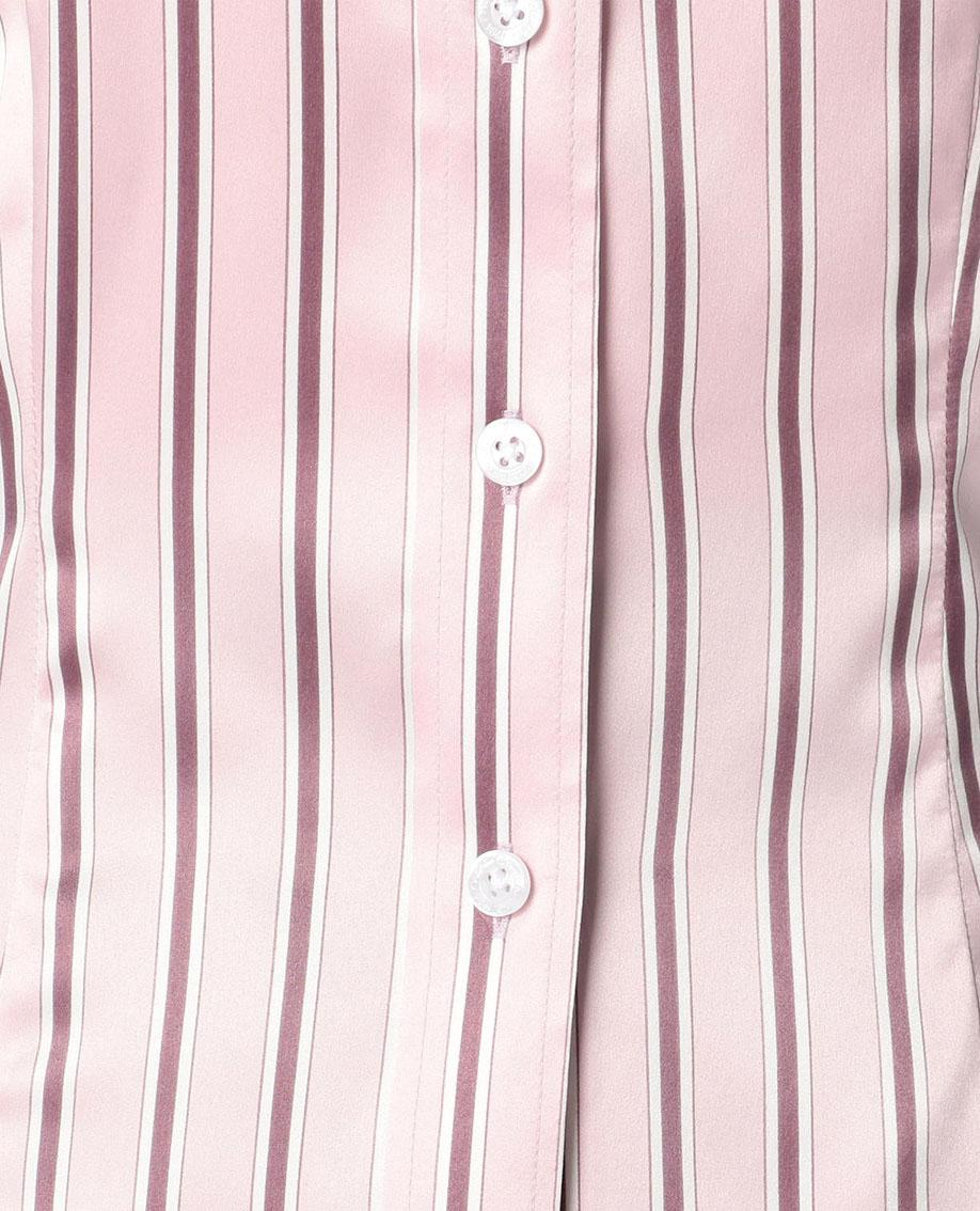 ストレッチサテンストライプチューリップ袖シャツ